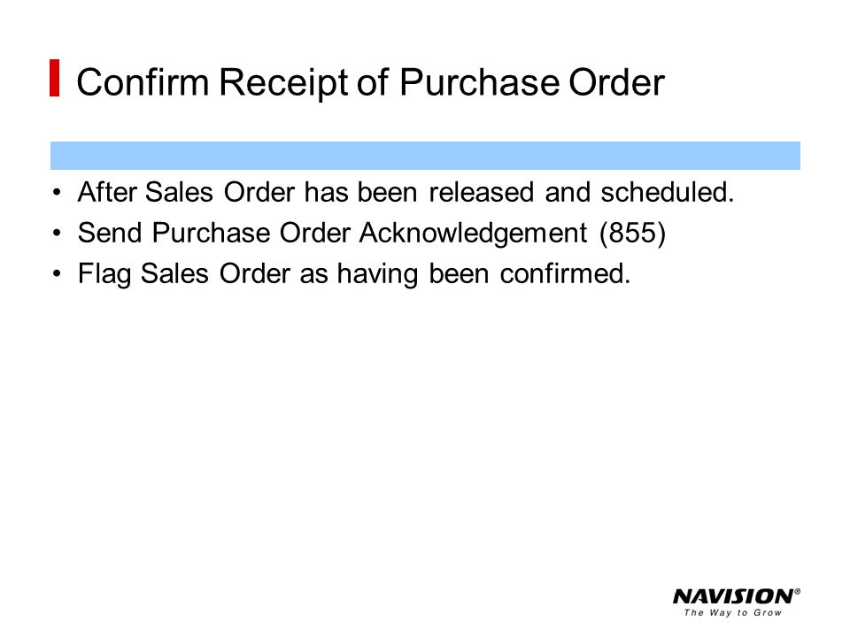 Confirm Receipt of Purchase Order
