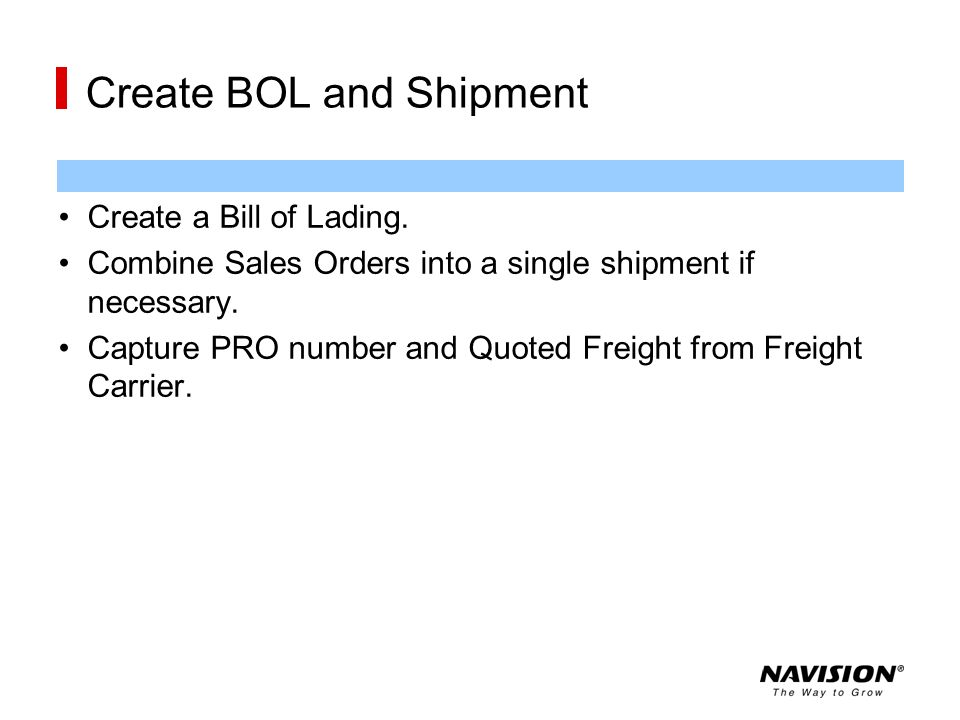 Create BOL and Shipment