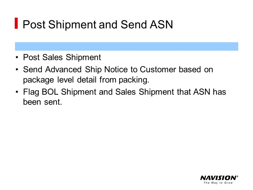 Post Shipment and Send ASN