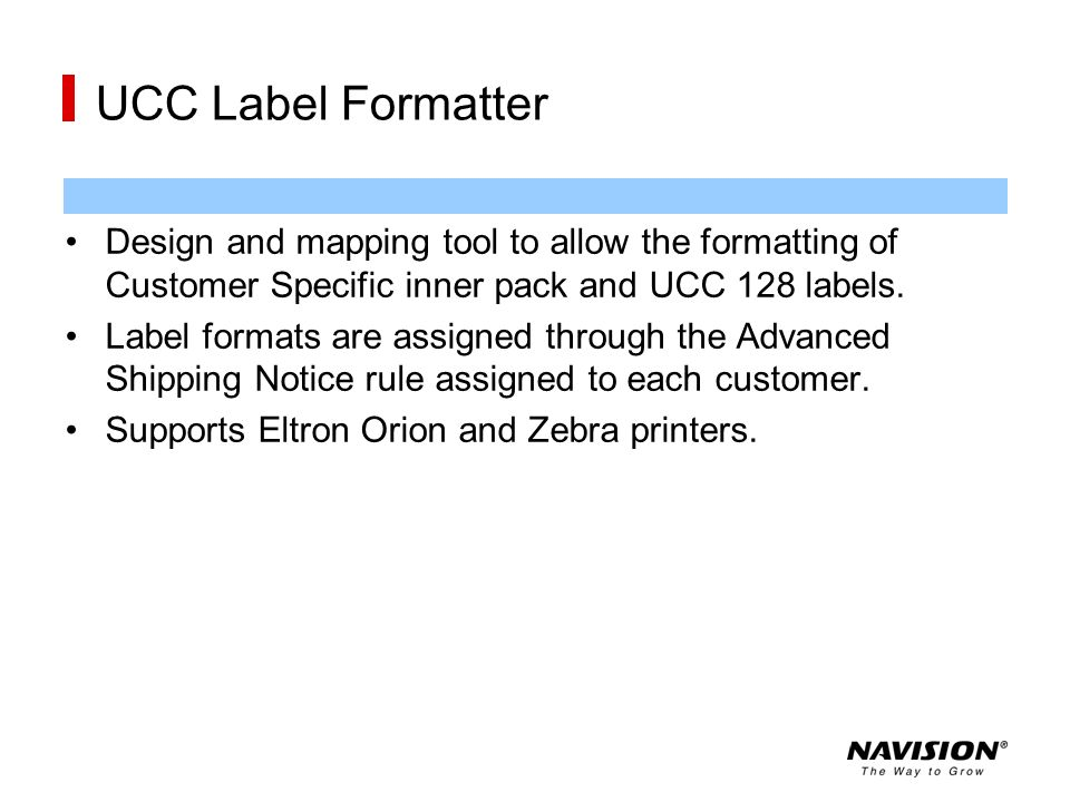 UCC Label Formatter Design and mapping tool to allow the formatting of Customer Specific inner pack and UCC 128 labels.