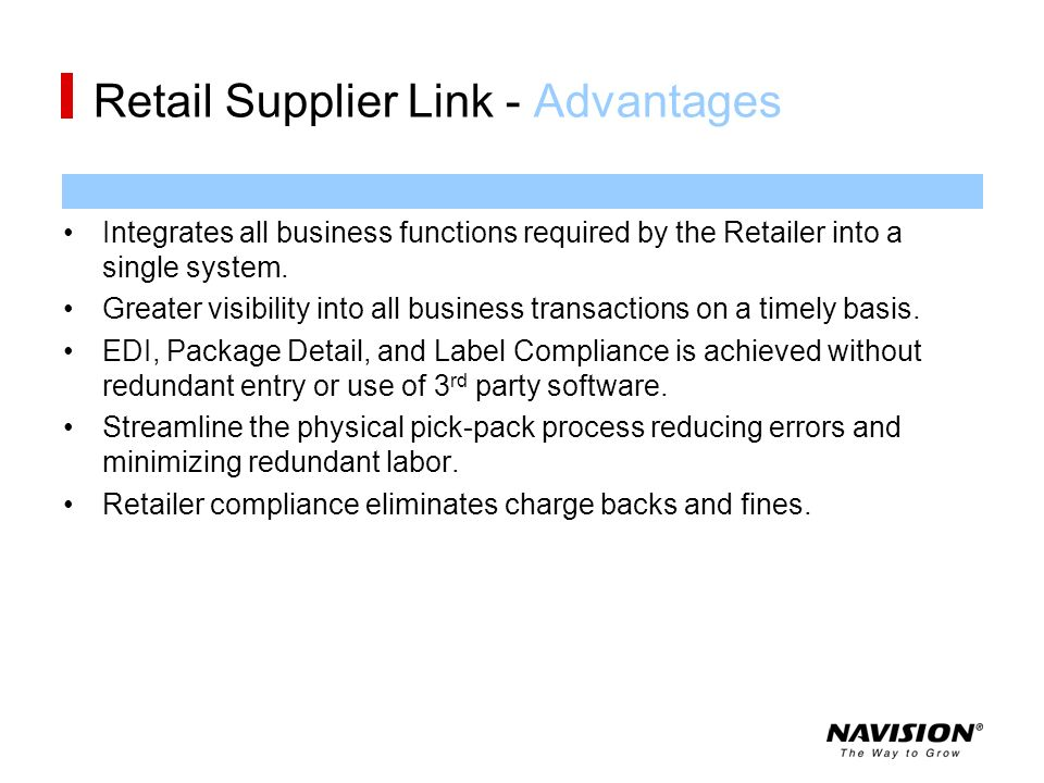 Retail Supplier Link - Advantages