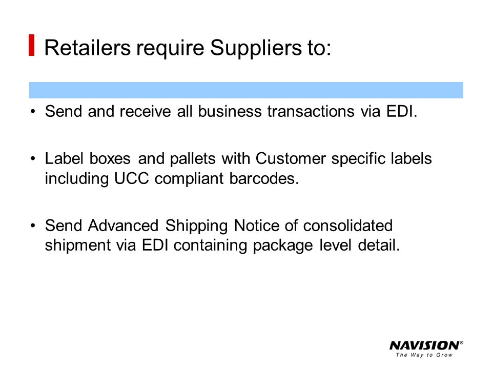 Retailers require Suppliers to: