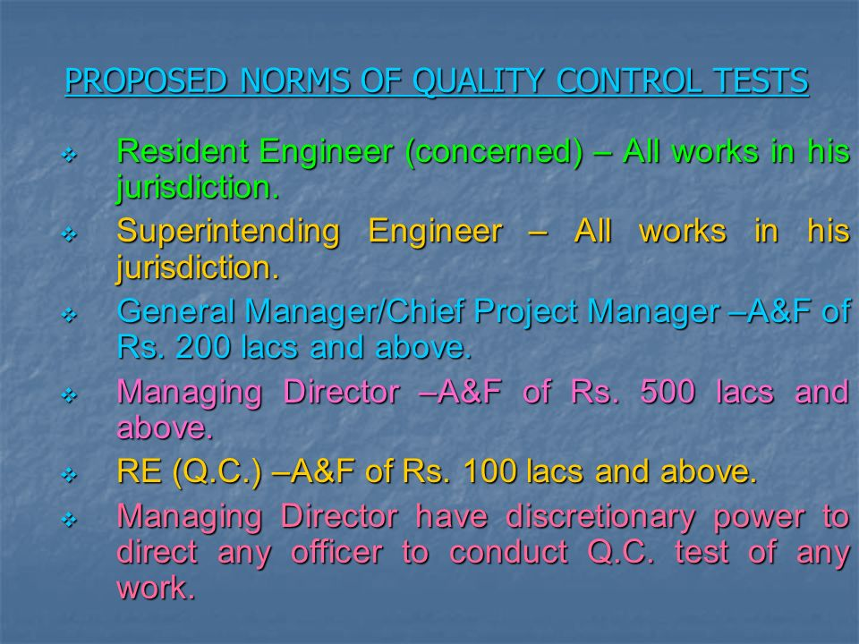 PROPOSED NORMS OF QUALITY CONTROL TESTS