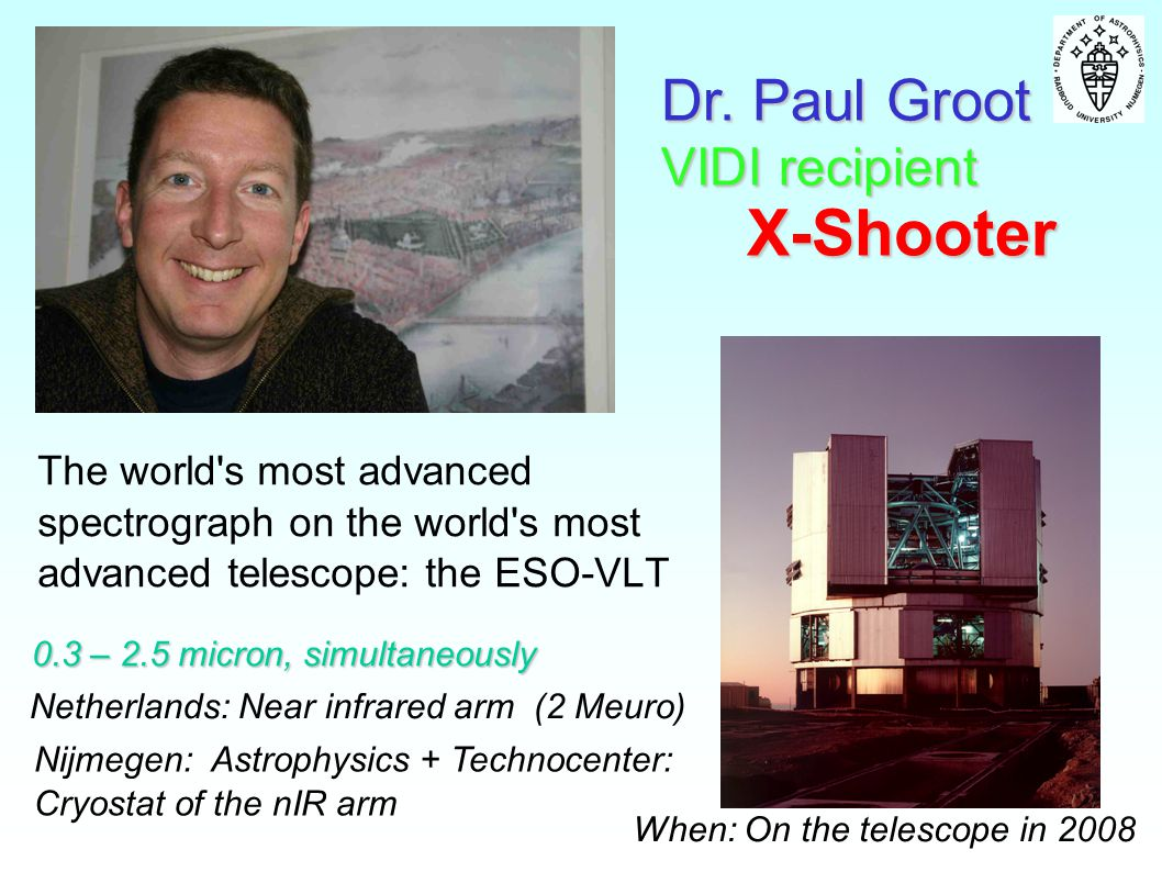 X-Shooter Dr. Paul Groot VIDI recipient