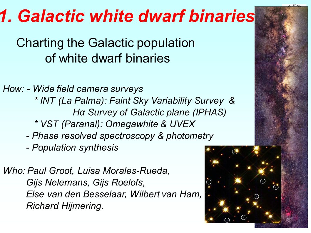 1. Galactic white dwarf binaries