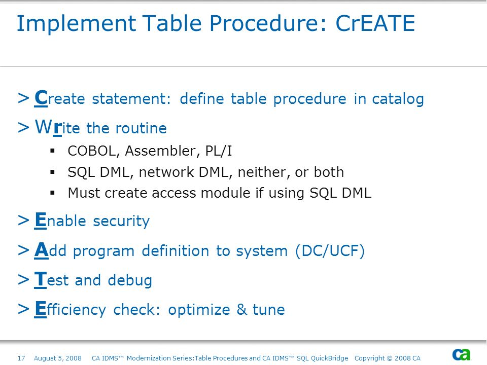 Implement Table Procedure: CrEATE