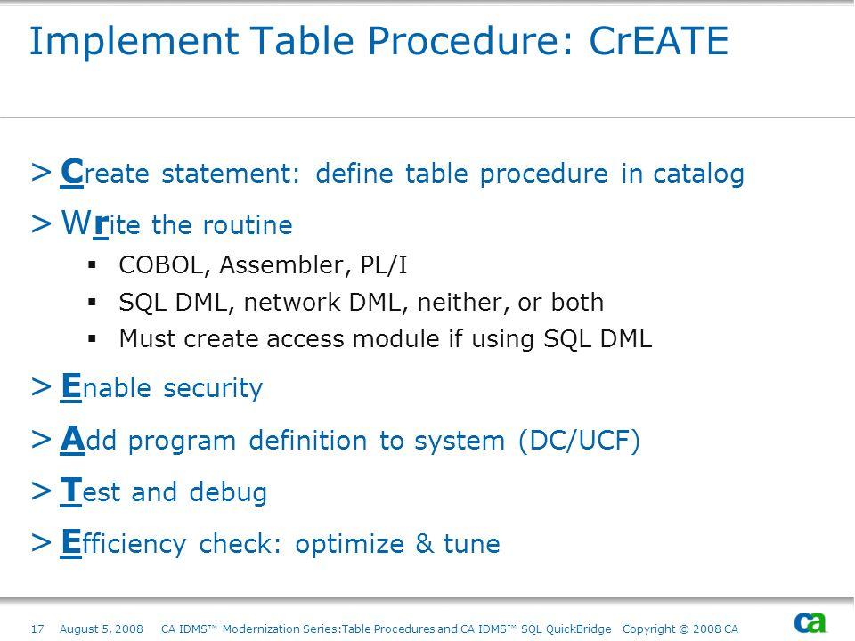 Implement Table Procedure: CrEATE