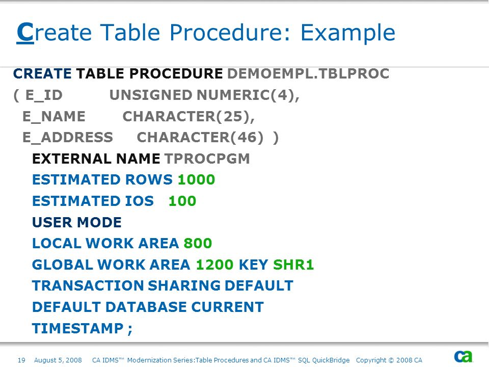 Create Table Procedure: Example