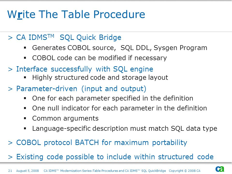 Write The Table Procedure