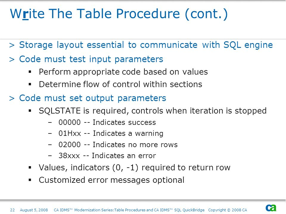 Write The Table Procedure (cont.)