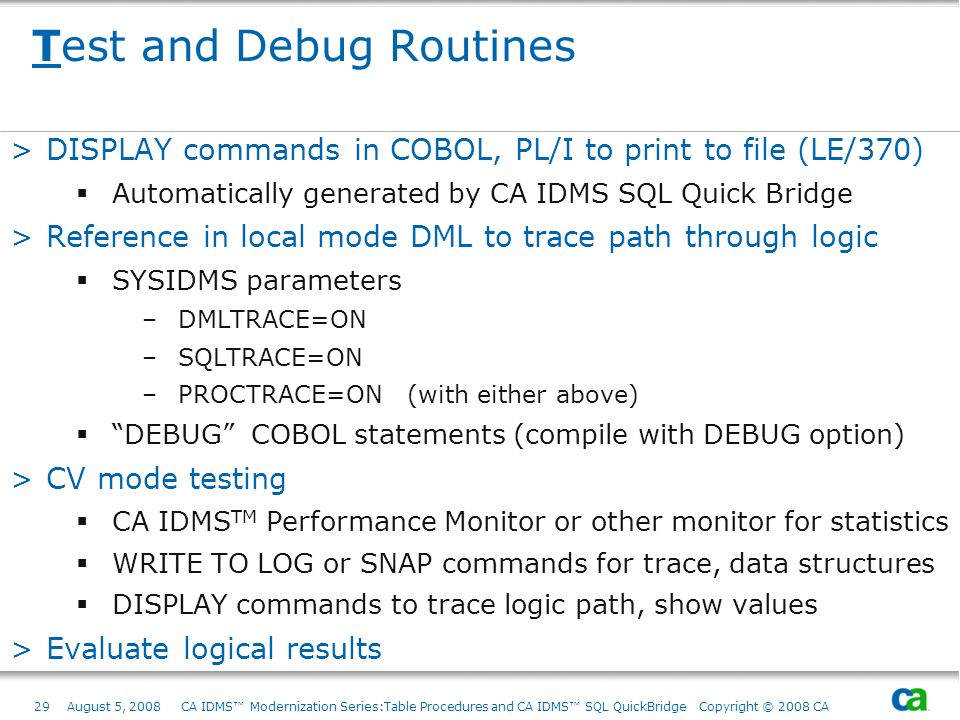 Test and Debug Routines