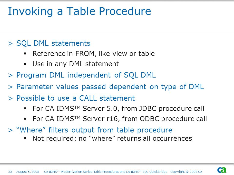 Invoking a Table Procedure