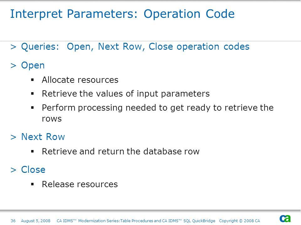 Interpret Parameters: Operation Code