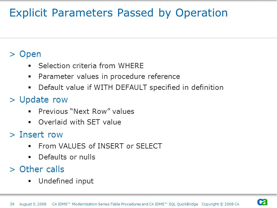 Explicit Parameters Passed by Operation