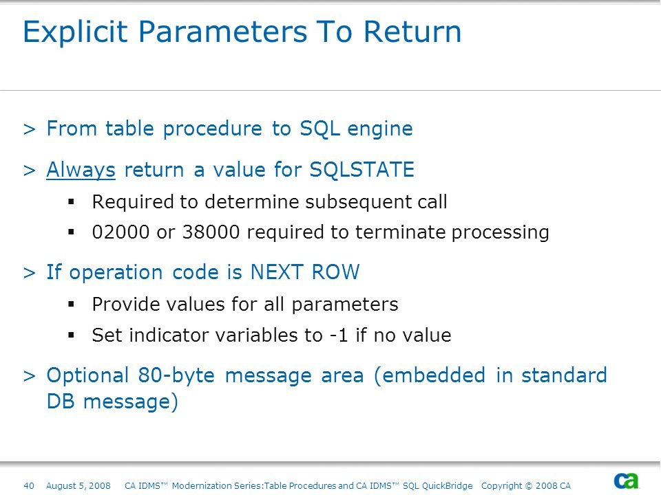 Explicit Parameters To Return