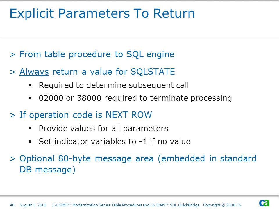 Explicit Parameters To Return