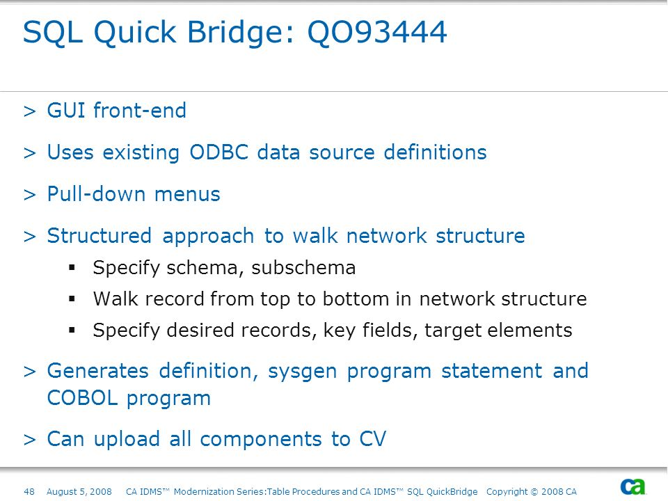 SQL Quick Bridge: QO93444 GUI front-end