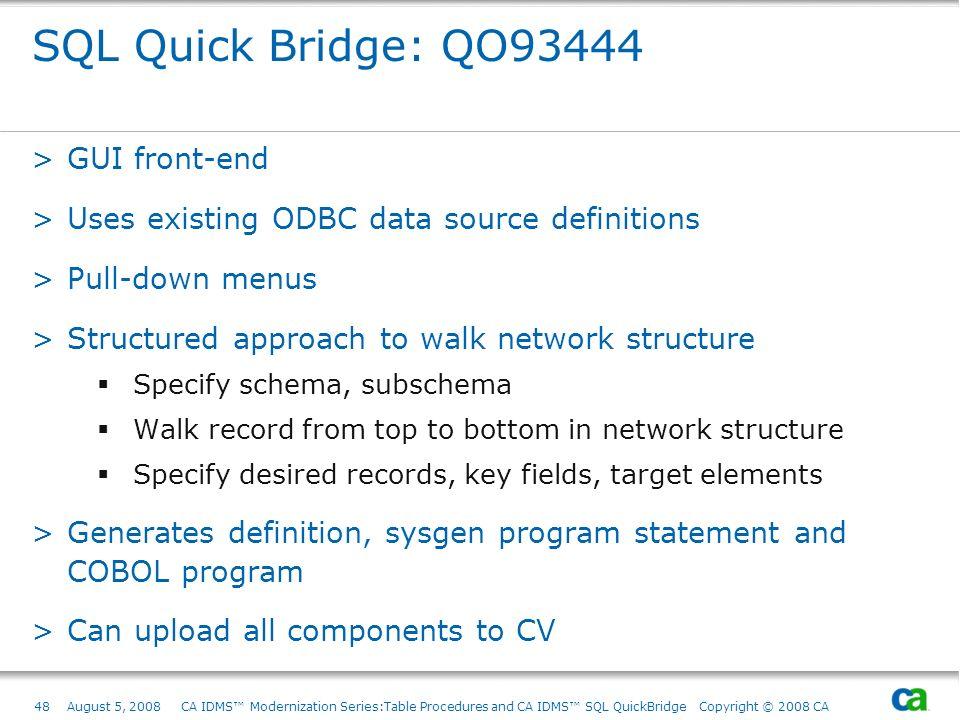 SQL Quick Bridge: QO93444 GUI front-end