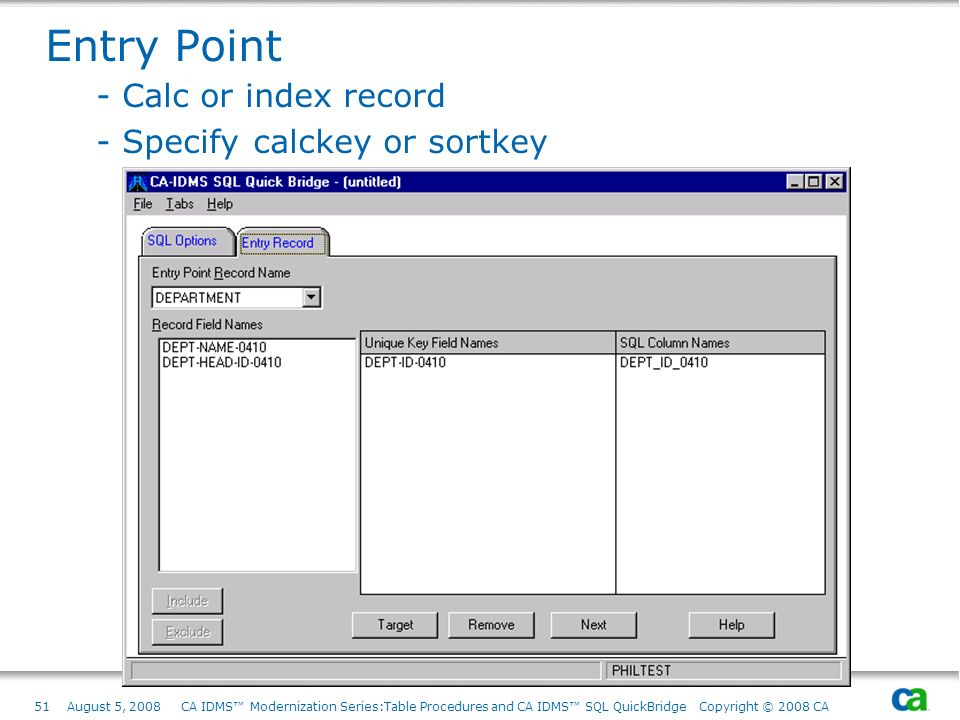 Entry Point - Calc or index record - Specify calckey or sortkey
