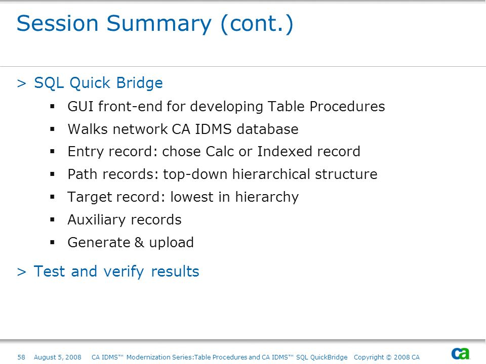 Session Summary (cont.)