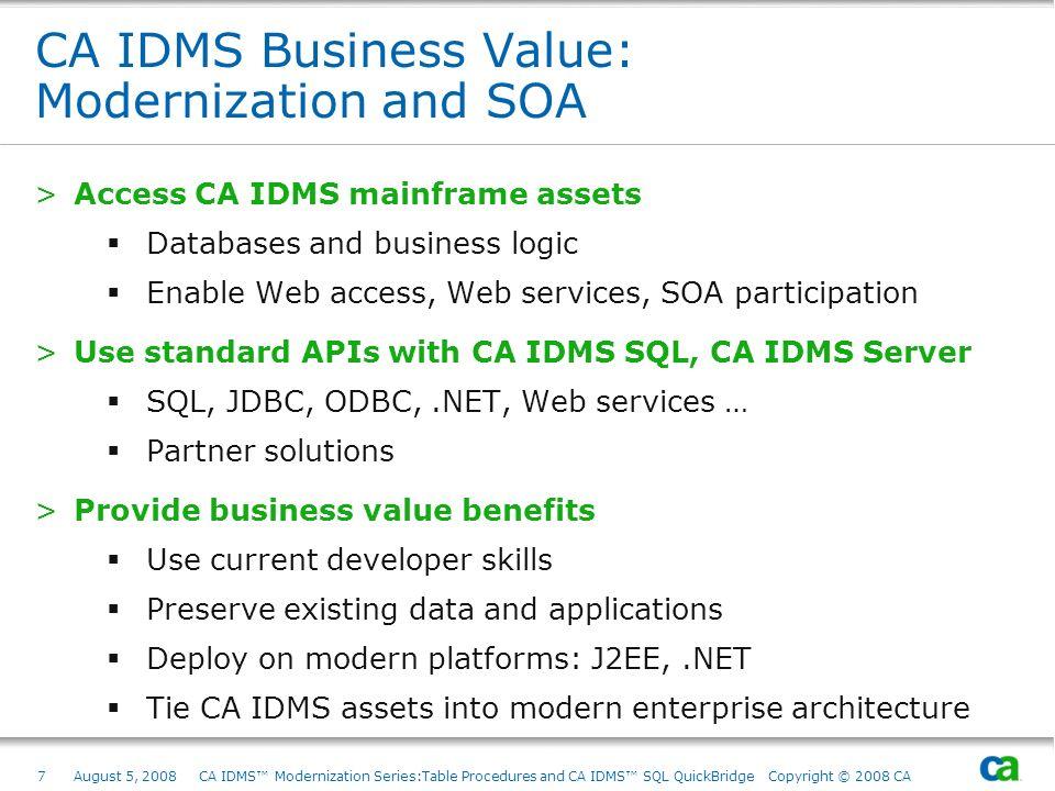 CA IDMS Business Value: Modernization and SOA