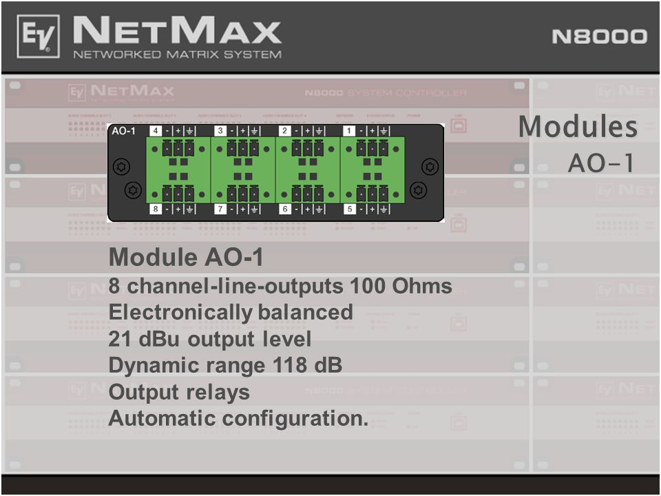 Modules AO-1 Module AO-1 8 channel-line-outputs 100 Ohms