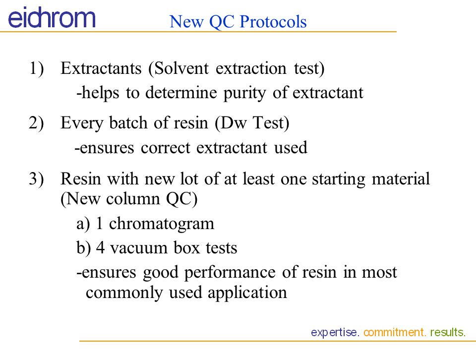 New QC Protocols Extractants (Solvent extraction test) -helps to determine purity of extractant. 2) Every batch of resin (Dw Test)