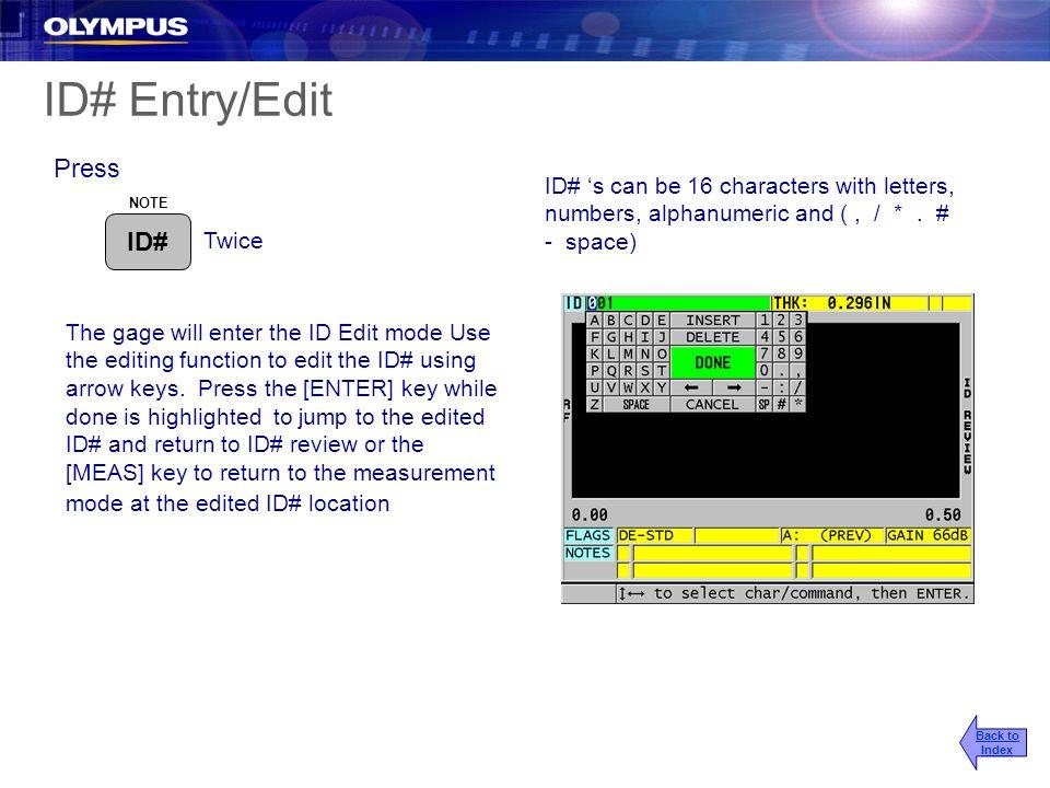 ID# Entry/Edit Press ID#