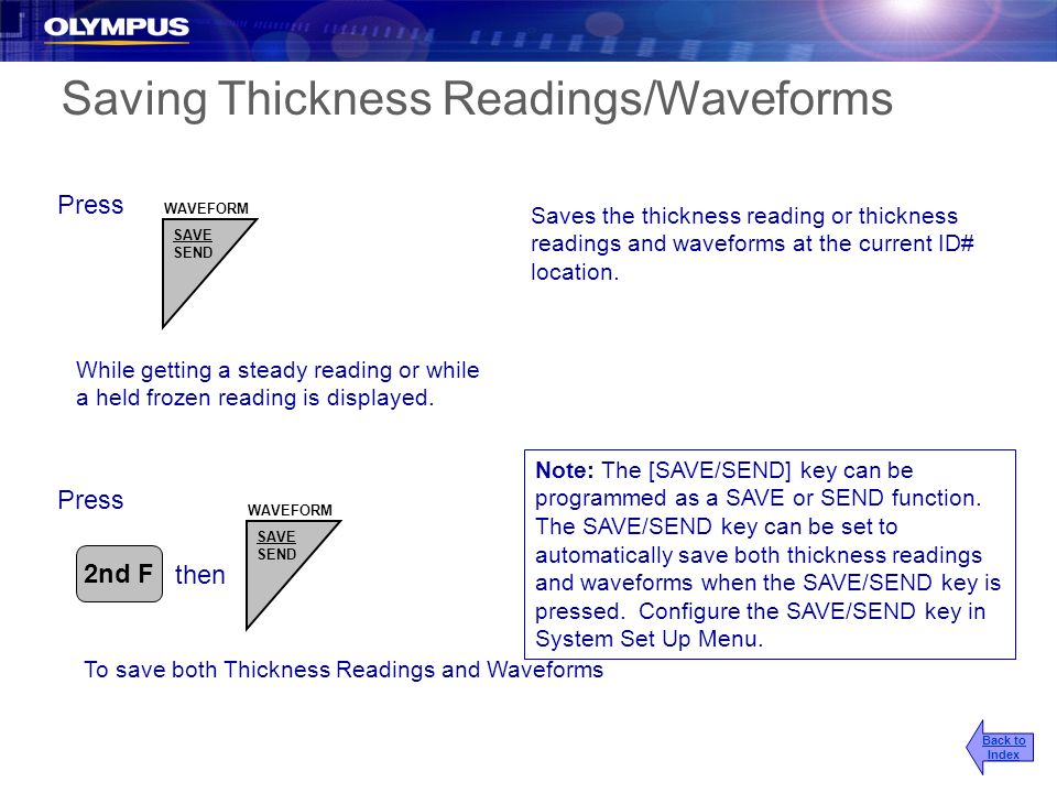 Saving Thickness Readings/Waveforms