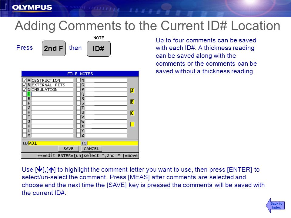 Adding Comments to the Current ID# Location