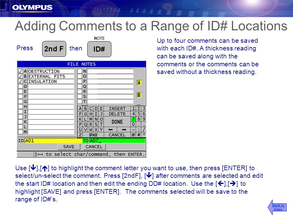 Adding Comments to a Range of ID# Locations