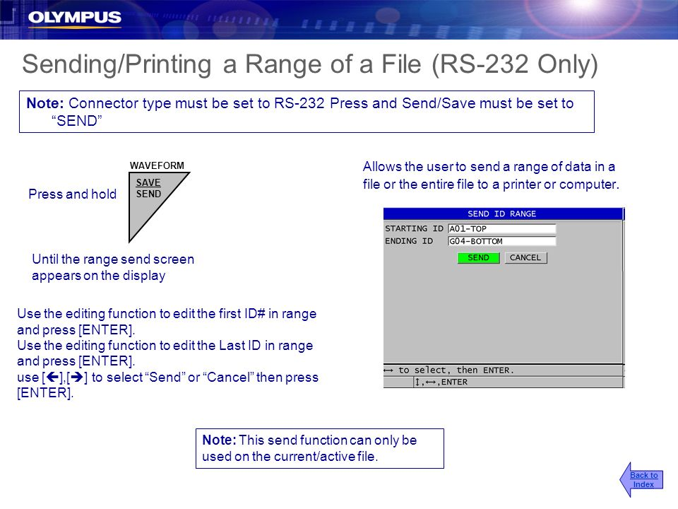 Sending/Printing a Range of a File (RS-232 Only)