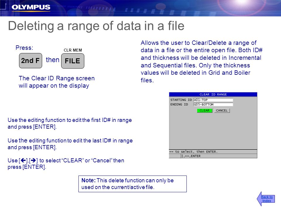 Deleting a range of data in a file