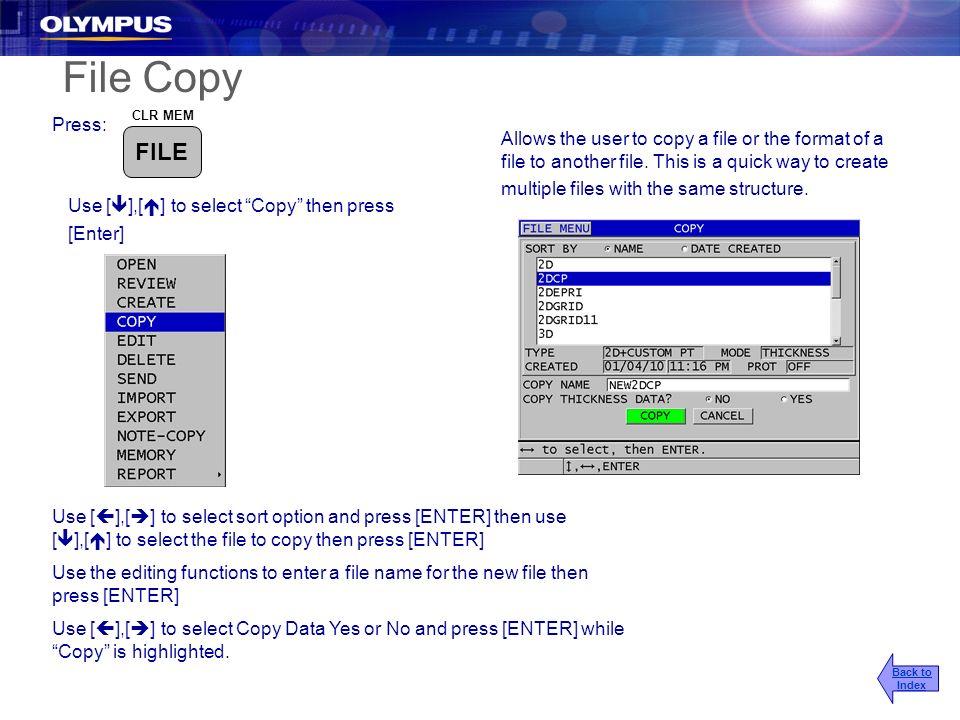 2017/3/25 File Copy. Press: CLR MEM. FILE.