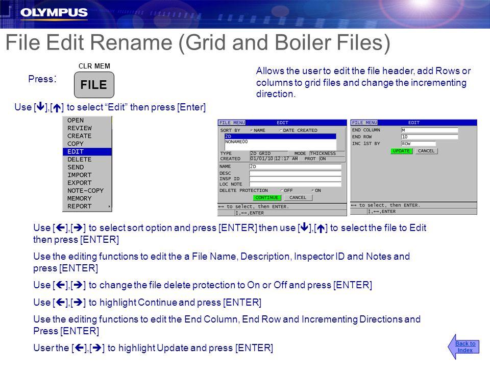 File Edit Rename (Grid and Boiler Files)