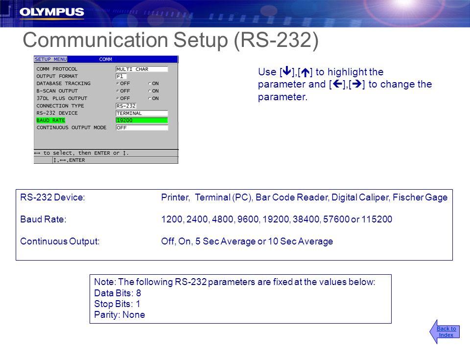 Communication Setup (RS-232)