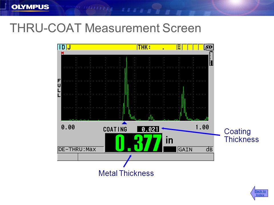THRU-COAT Measurement Screen