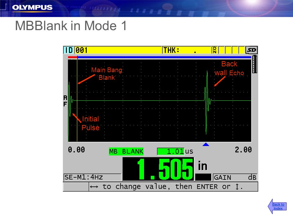 MBBlank in Mode 1 Back wall Echo Initial Pulse Main Bang Blank