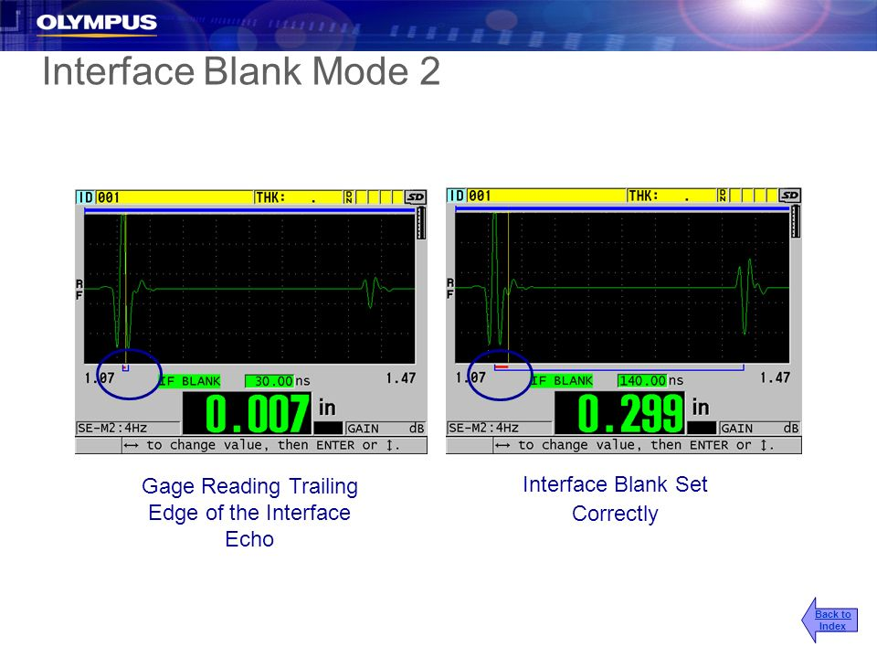 2017/3/25 Interface Blank Mode 2. Gage Reading Trailing Edge of the Interface Echo. Interface Blank Set Correctly.