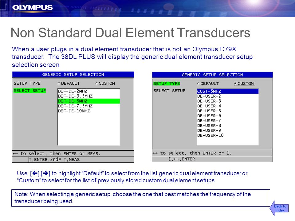 Non Standard Dual Element Transducers