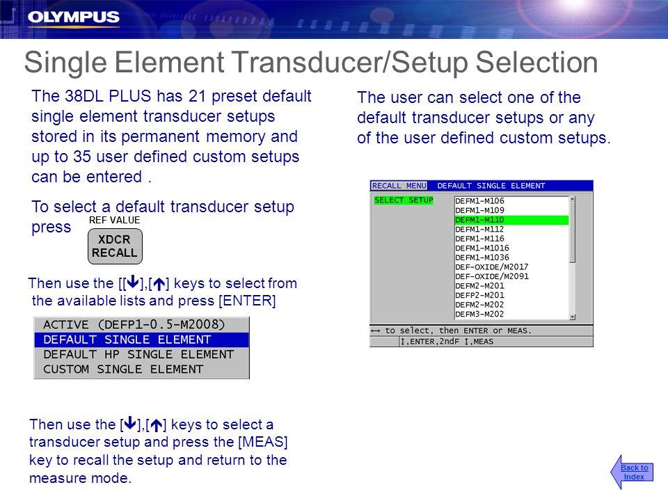 Single Element Transducer/Setup Selection