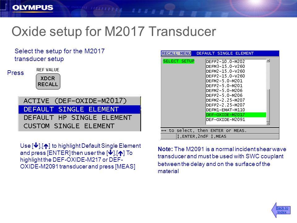Oxide setup for M2017 Transducer