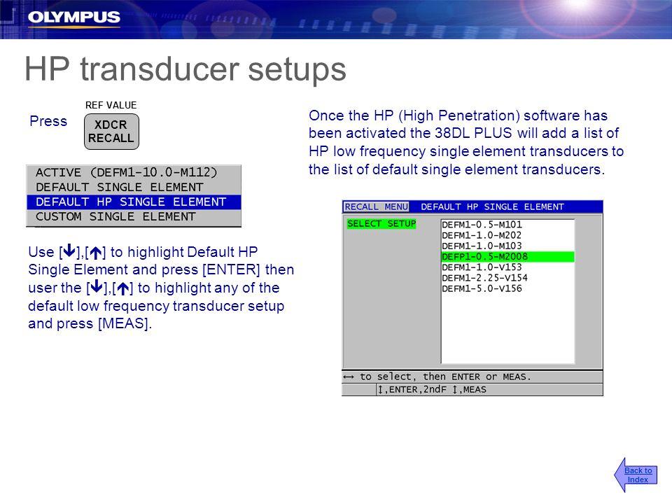 2017/3/25 HP transducer setups. REF VALUE. XDCR. RECALL.