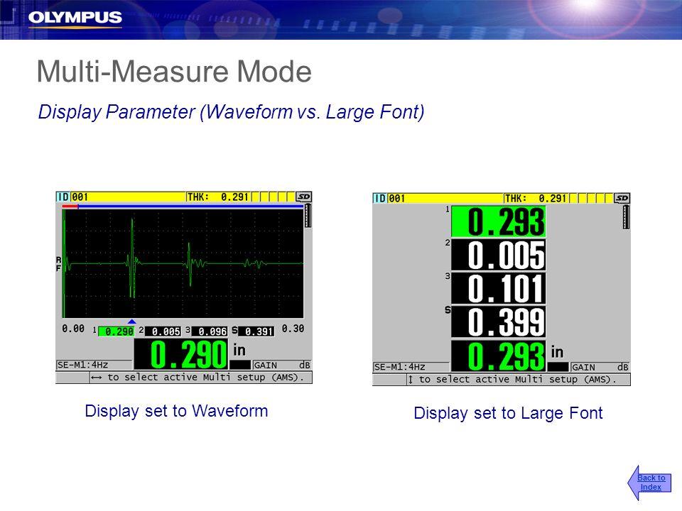 Multi-Measure Mode Display Parameter (Waveform vs. Large Font)