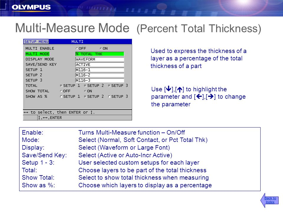 Multi-Measure Mode (Percent Total Thickness)