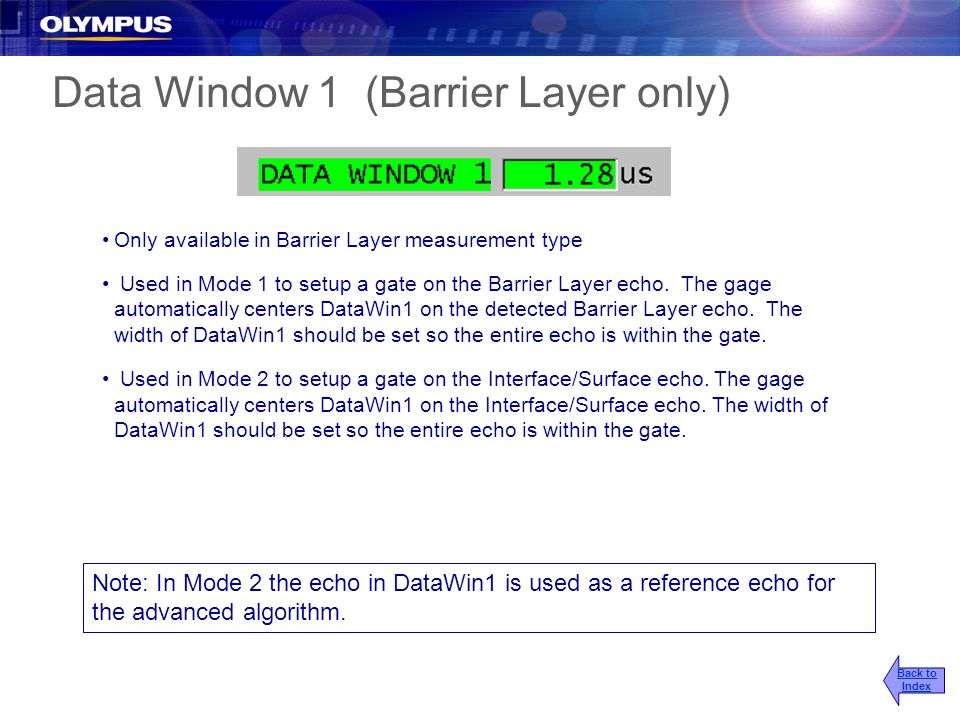 Data Window 1 (Barrier Layer only)