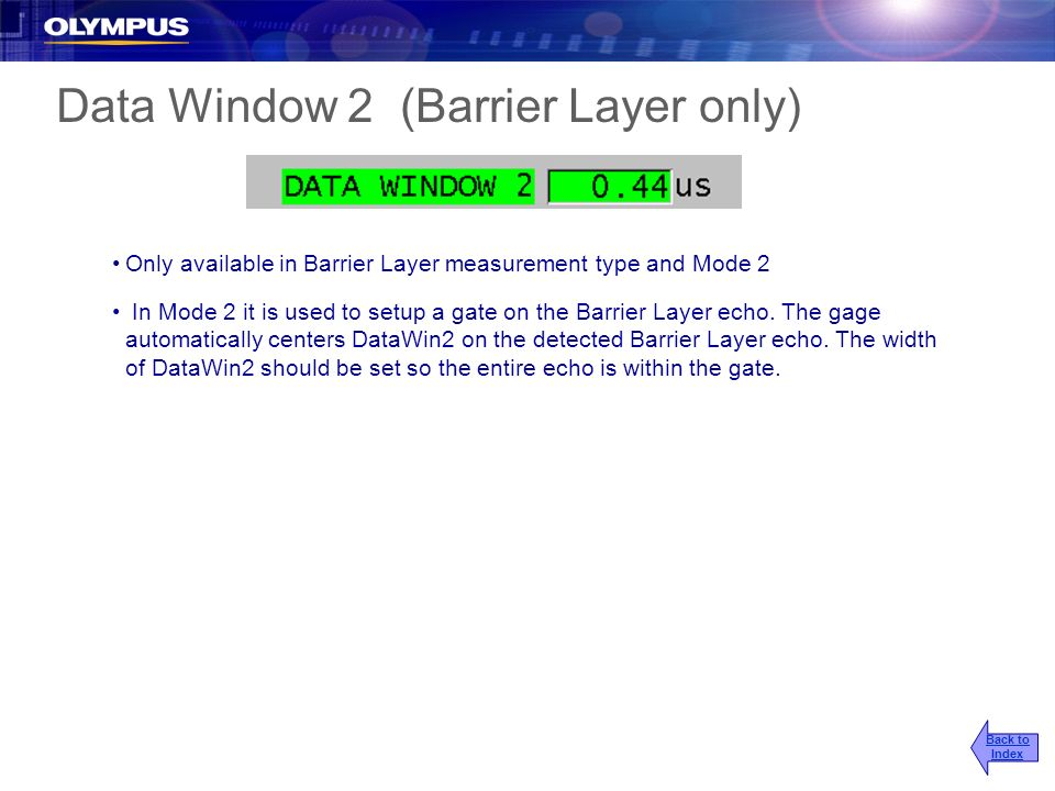 Data Window 2 (Barrier Layer only)