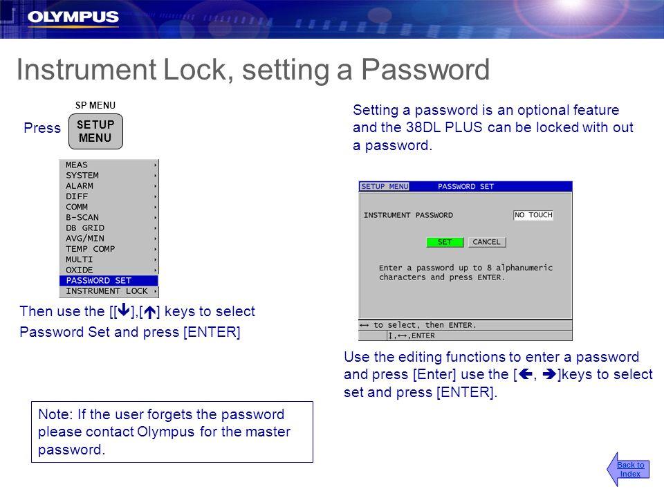 Instrument Lock, setting a Password