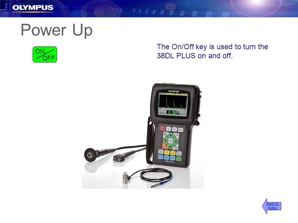 Power Up The On/Off key is used to turn the 38DL PLUS on and off. ON