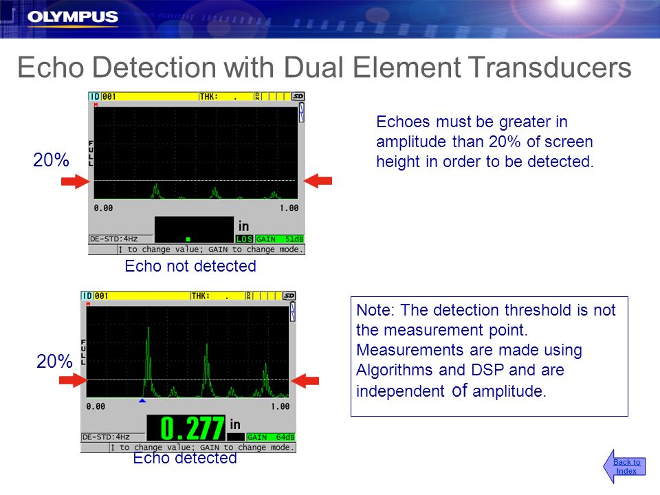 Echo Detection with Dual Element Transducers
